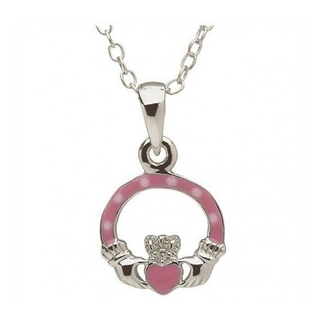 pink Claddagh Pendant, Little Miss Collection